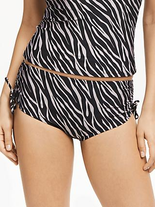John Lewis & Partners Zizi Animal Ruched Bikini Shorts, Black/Taupe