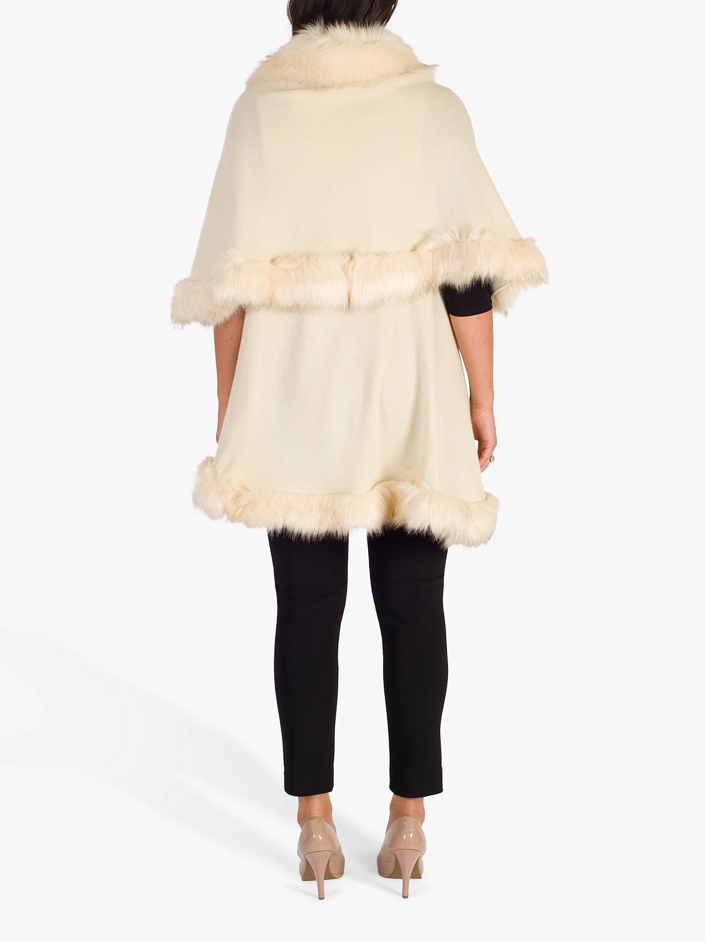 BuyChesca Luxury Knitted Faux Fur Cape, Cream, One Size Online at johnlewis.com