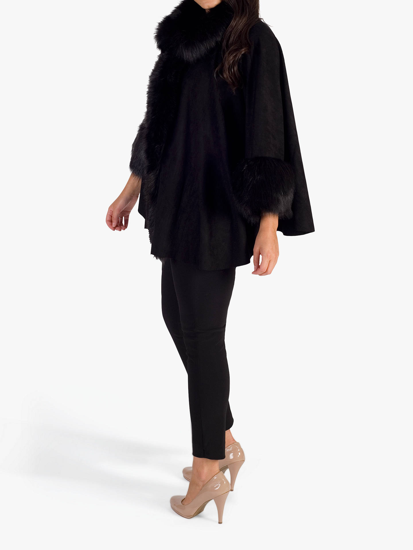 BuyChesca Faux Fur Trim Cape, Black, One Size Online at johnlewis.com
