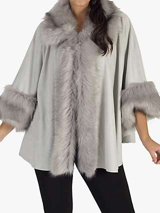 Chesca Faux Fur Trim Cape