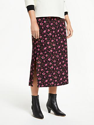 18540188882b Finery Enya Floral Print Side Split Midi Skirt