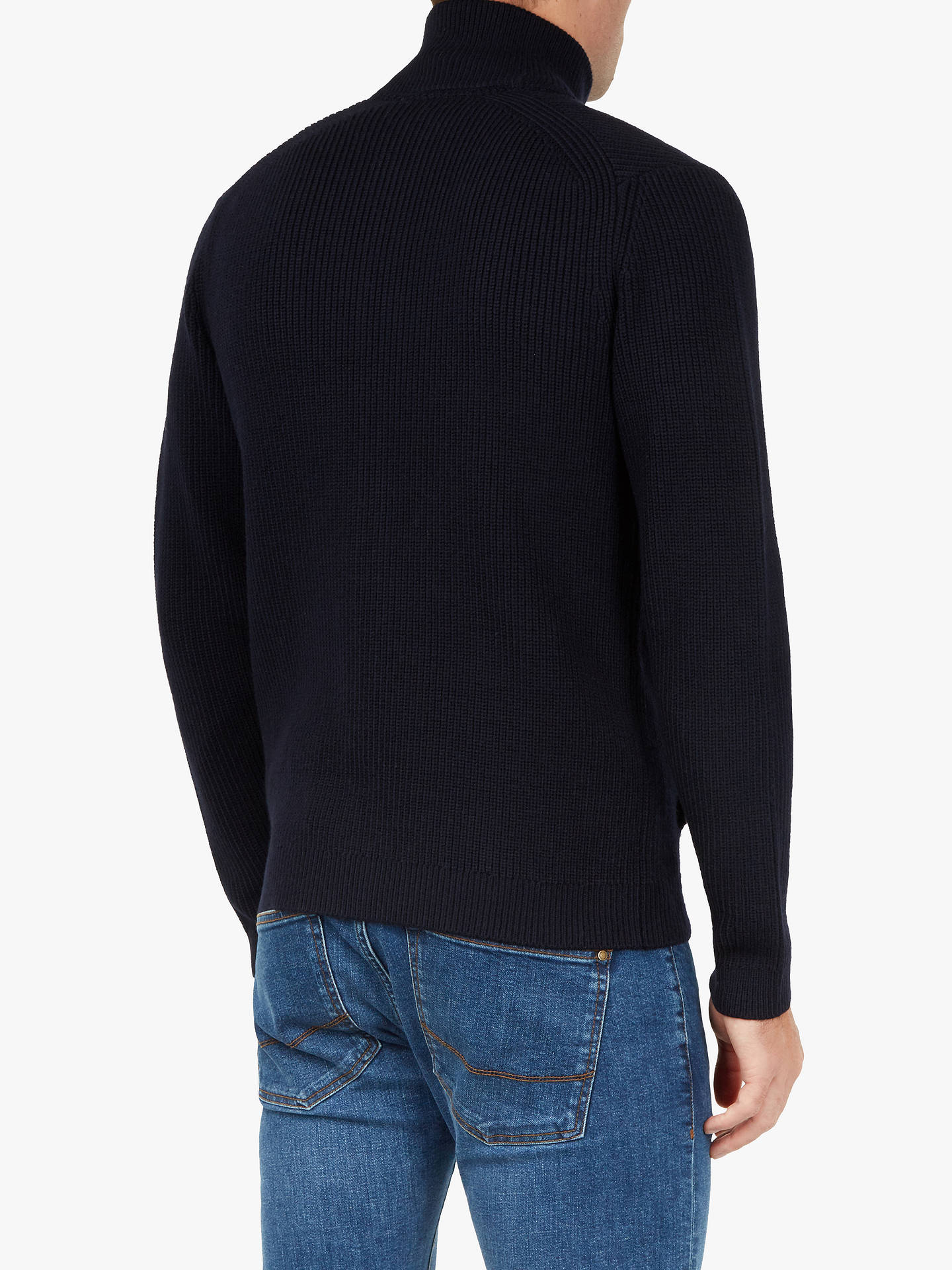 BuyTed Baker Saltcar Ribbed Zip Cardigan, Navy, M Online at johnlewis.com