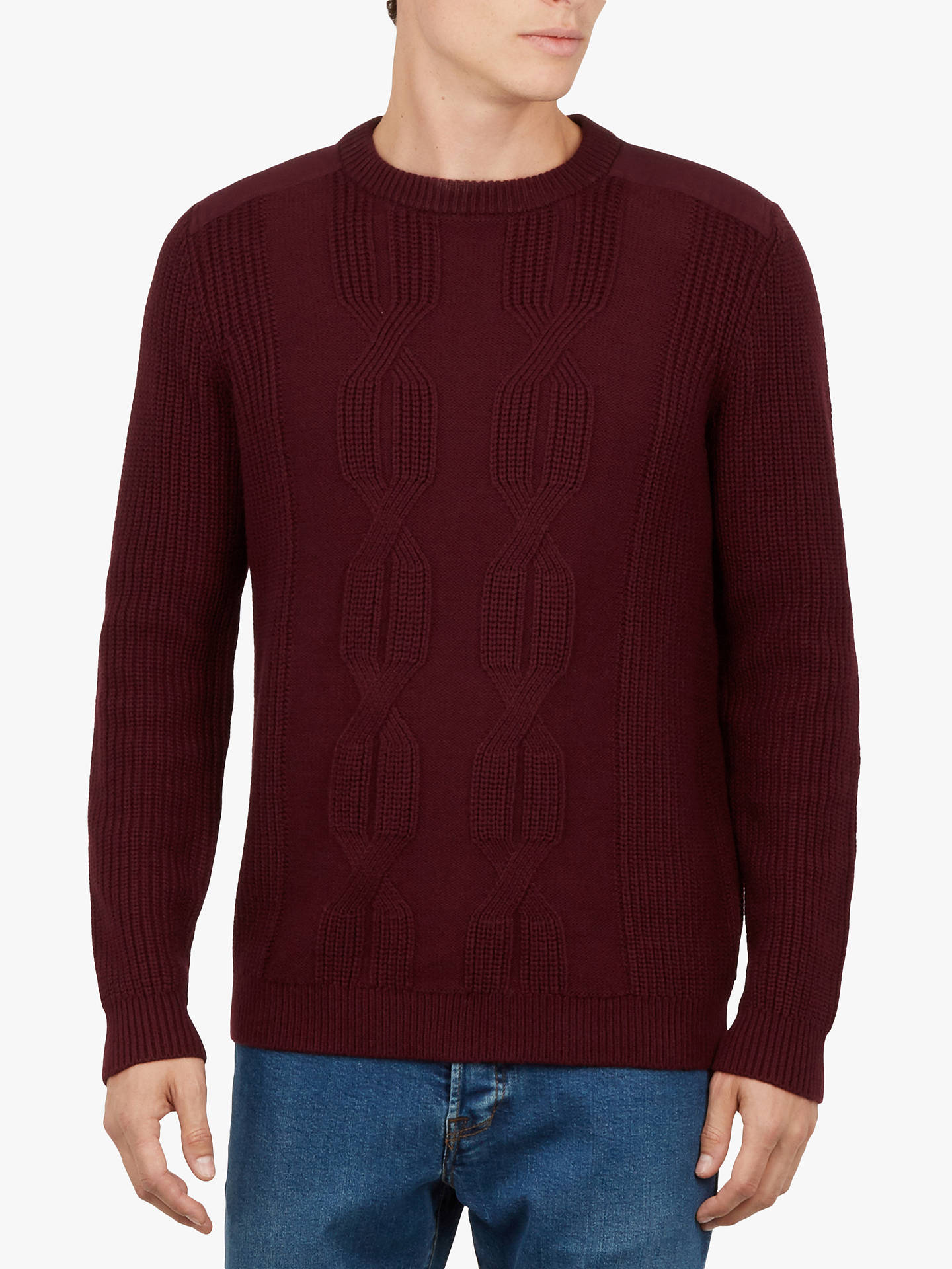 Buy Ted Baker Laichi Crew Neck Jumper, Dark Red, XS Online at johnlewis.com