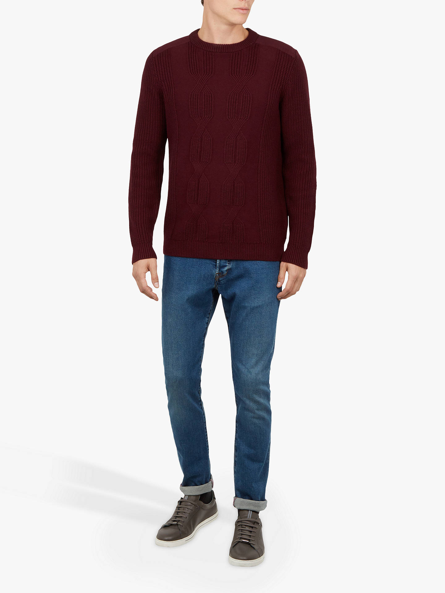 Buy Ted Baker Laichi Crew Neck Jumper, Dark Red, M Online at johnlewis.com