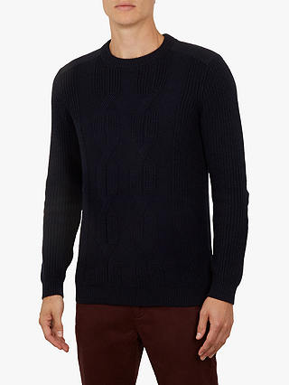 Buy Ted Baker Laichi Crew Neck Jumper, Navy Blue, L Online at johnlewis.com