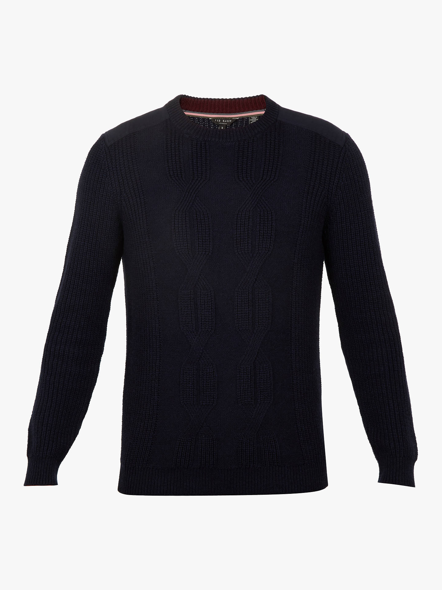 Buy Ted Baker Laichi Crew Neck Jumper, Navy Blue, M Online at johnlewis.com