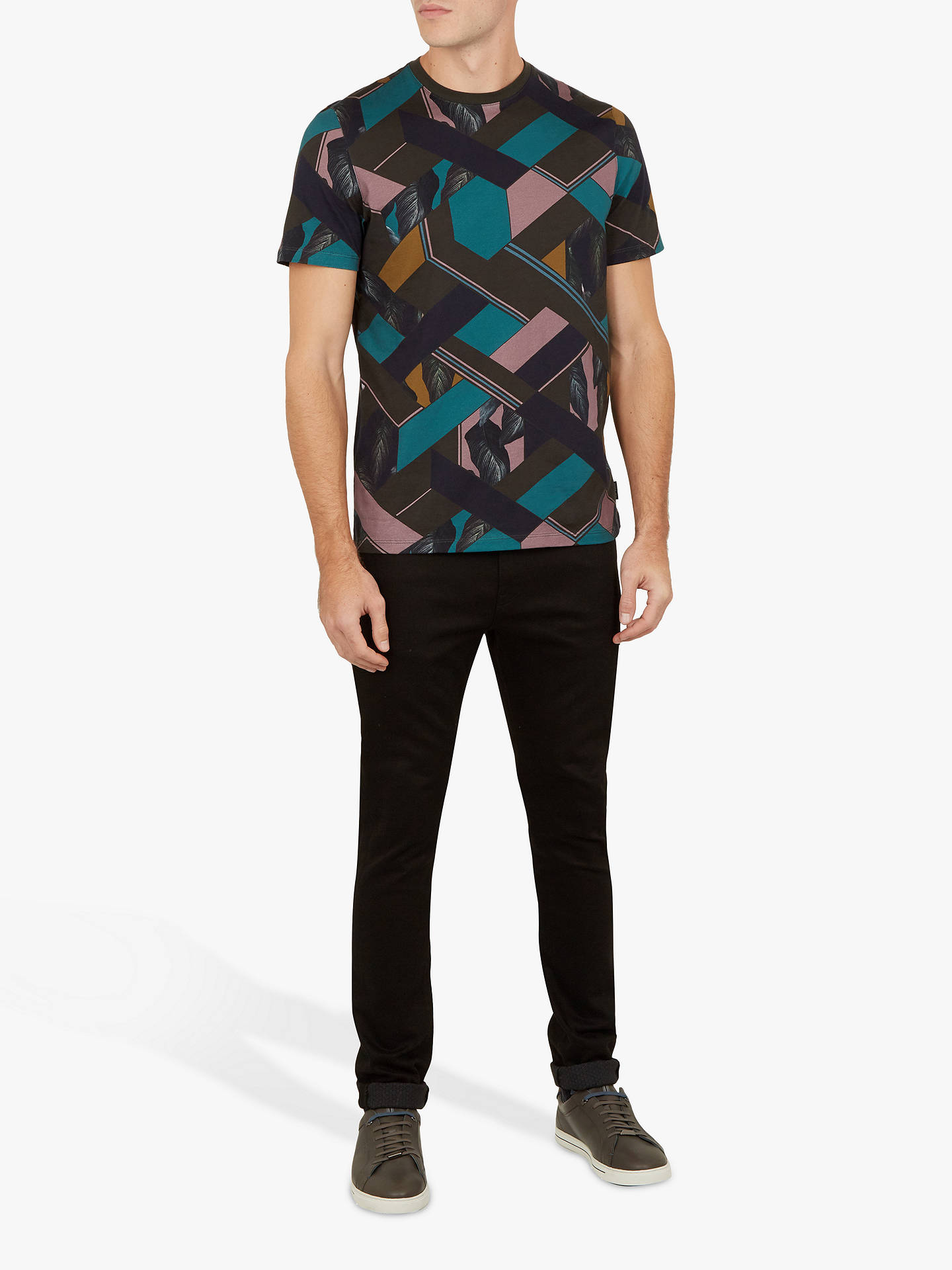 c25773961 Buy Ted Baker Apahol Print T-Shirt, Green Khaki, XS Online at johnlewis ...
