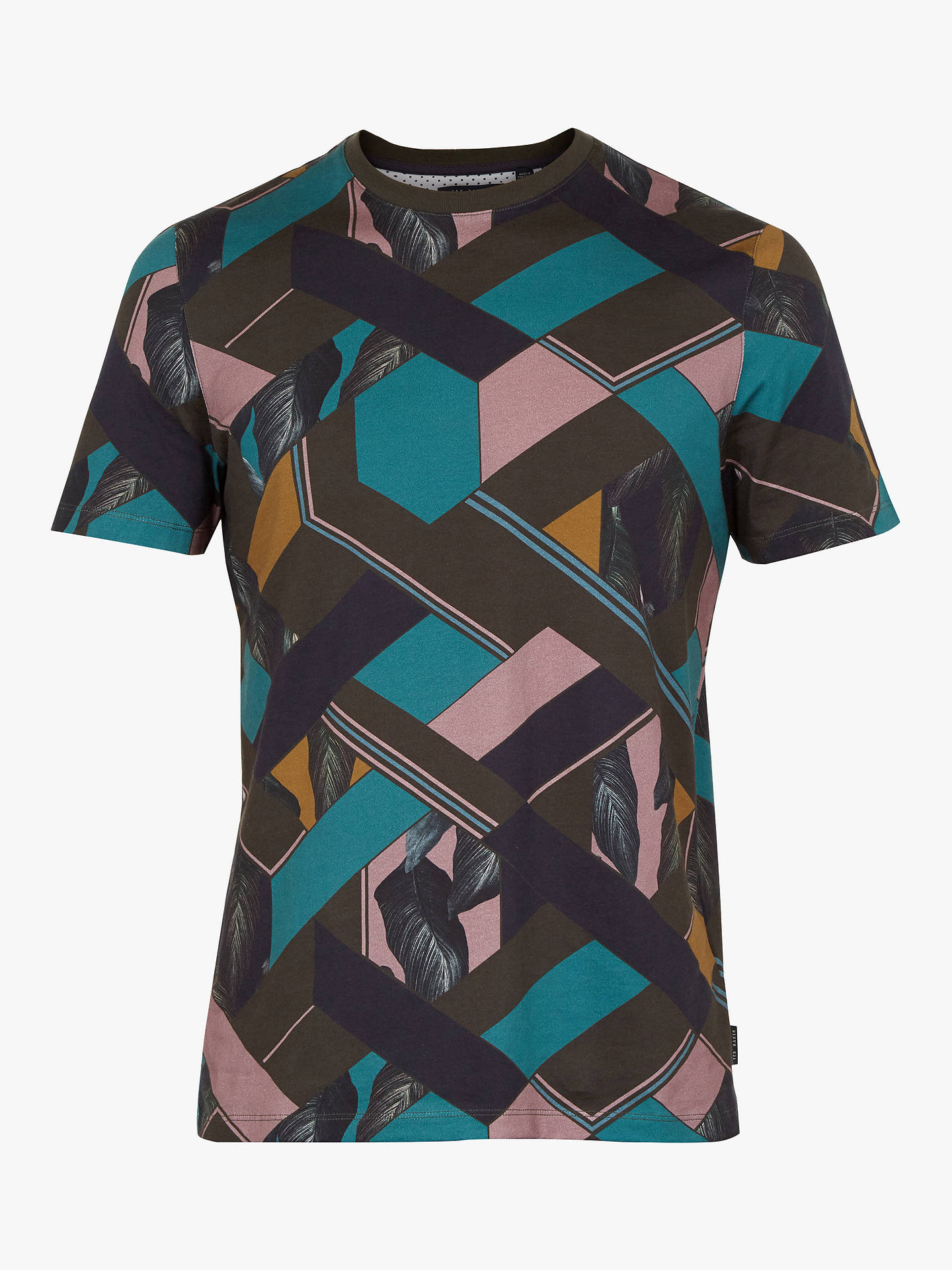 Buy Ted Baker Apahol Print T-Shirt, Green Khaki, XXXL Online at johnlewis.com