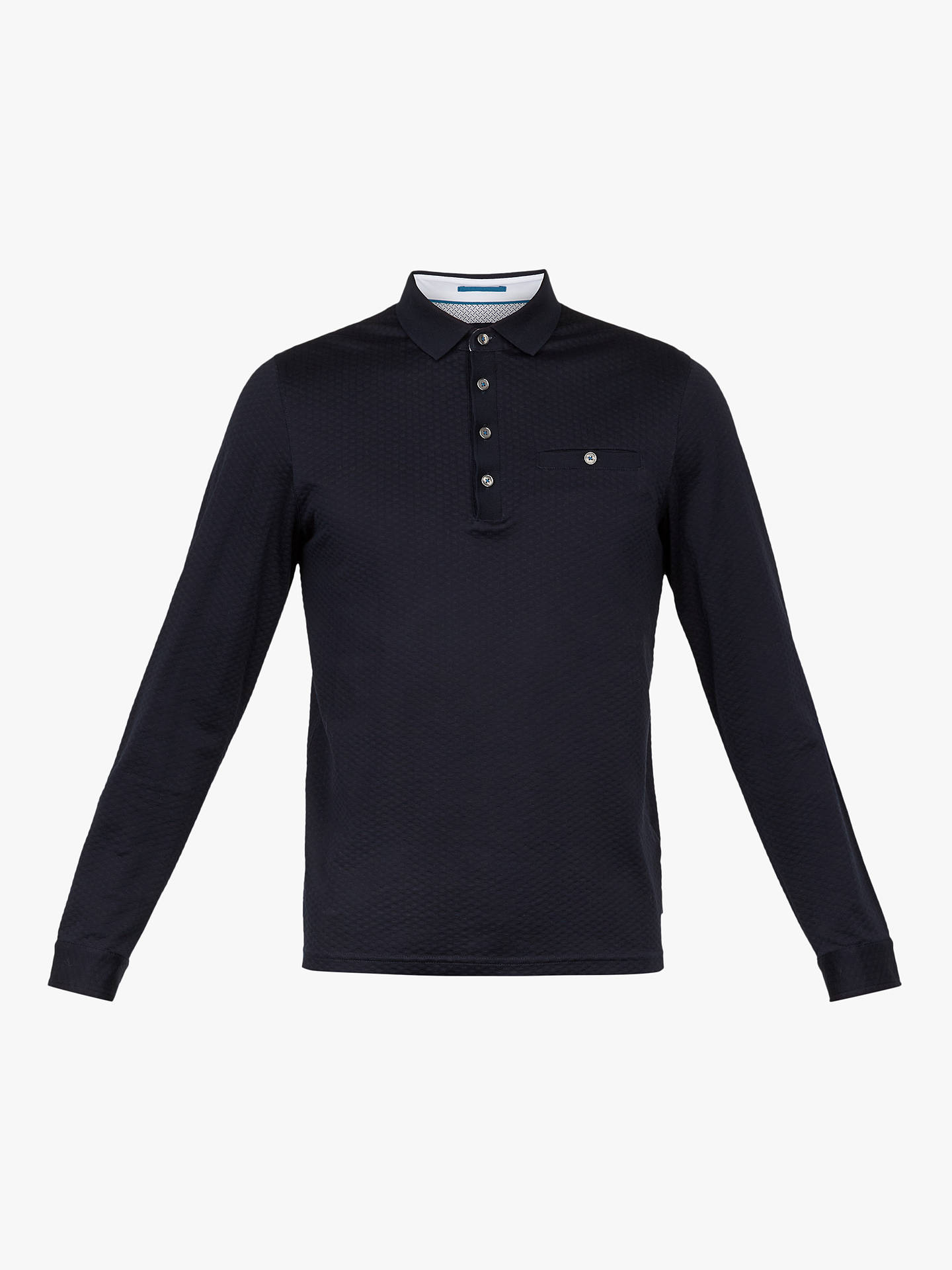 BuyTed Baker Fruitpa Long Sleeve Polo Shirt, Navy Blue, S Online at johnlewis.com