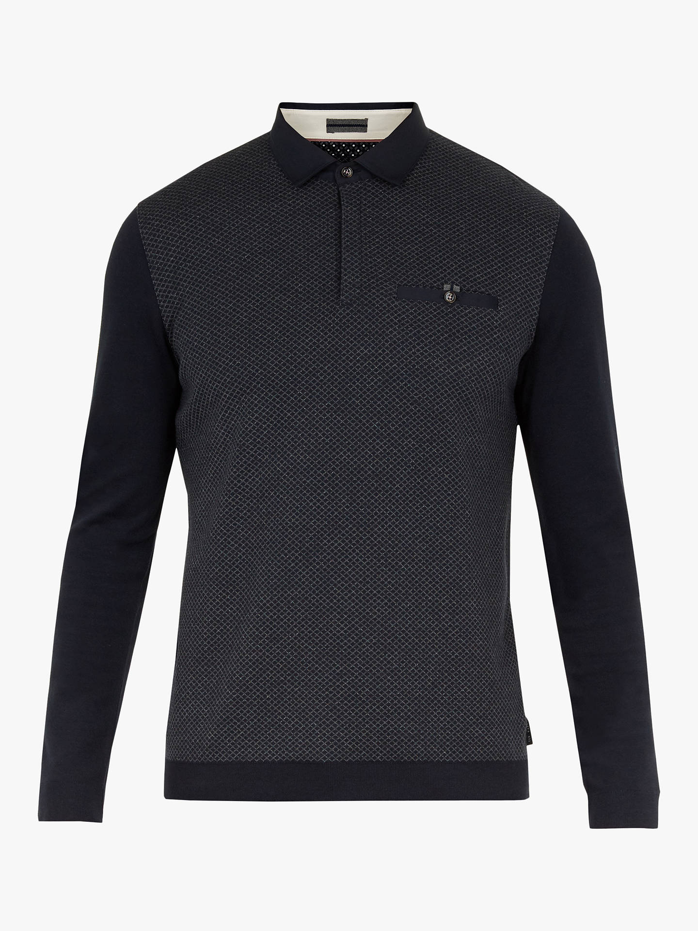 Buy Ted Baker Friend Diamond Pattern Polo Shirt, Navy Blue, M Online at johnlewis.com