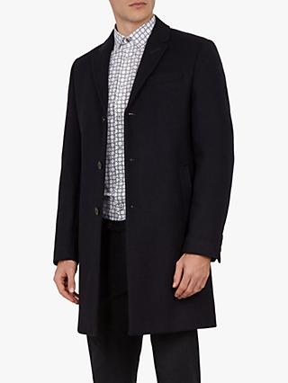 Ted Baker Mallbec 3 Button Overcoat, Navy Blue