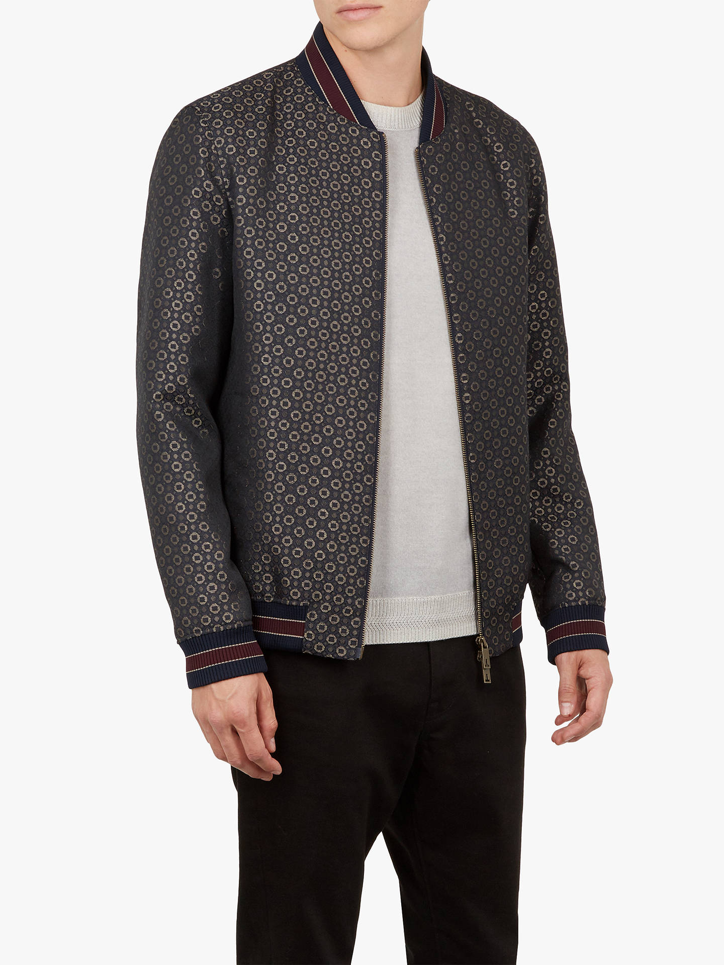 Buy Ted Baker Wotzit Jacquard Bomber Jacket, Navy, XXL Online at johnlewis.com