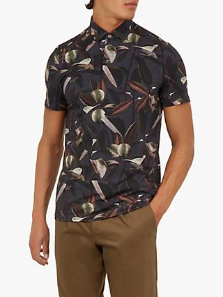 Ted Baker Whitmice Floral Print Polo Shirt, Charcoal