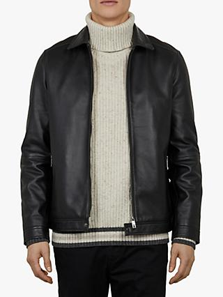 b9b5a71fe8b3e5 Ted Baker Biskitz Collared Leather Jacket