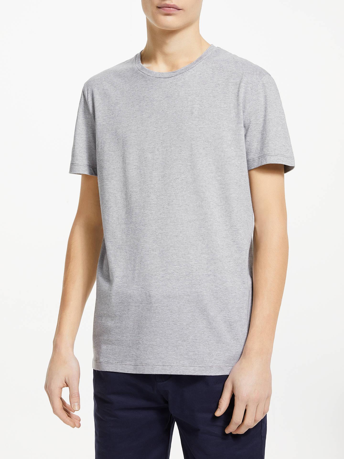 5084b76b5f40d Kin Micro Stripe Cotton T-Shirt, Grey Marl/White