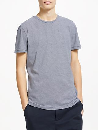 Kin Micro Stripe Cotton T-Shirt, White/Navy