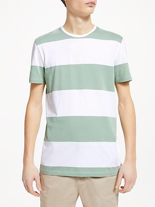 Kin Extra Bold Stripe Cotton T-Shirt, Sage