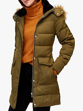 Warehouse Long Padded Coat, Khaki