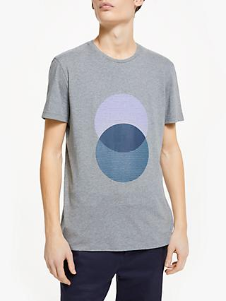 Kin Short Sleeve Circle Blend Graphic T-Shirt, Grey Marl