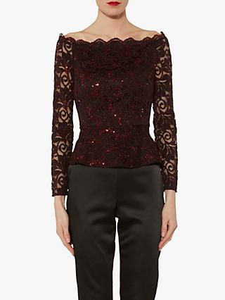 Gina Bacconi Zenobia Sequin Lace Top, Red/Black