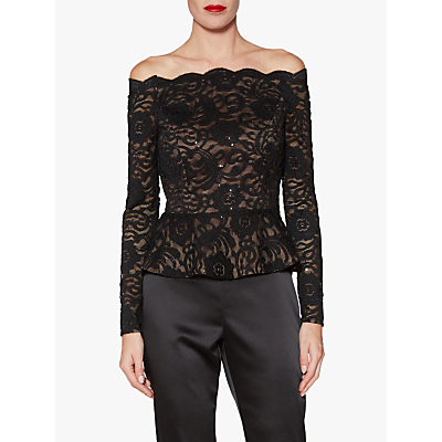 Gina Bacconi Alivia Floral Lace Sequin Top, Black