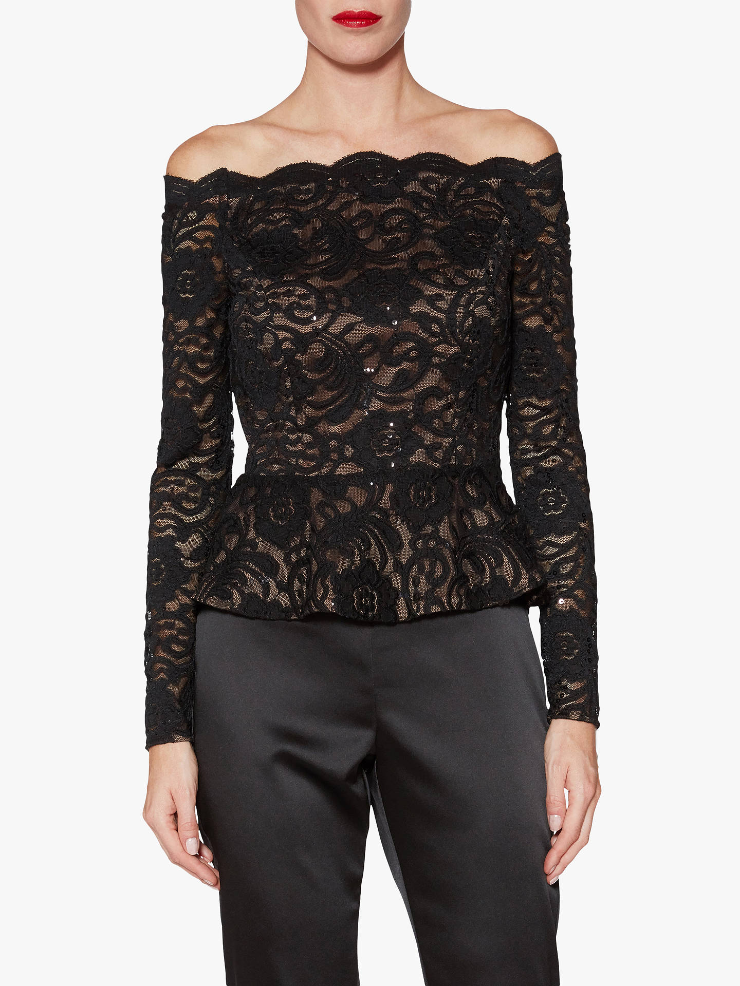 412b68c25d285d Buy Gina Bacconi Alivia Floral Lace Sequin Top, Black, 12 Online at  johnlewis.