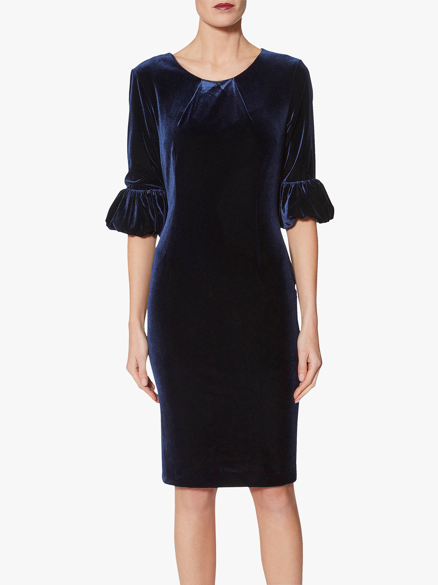 Buy Gina Bacconi Noemi Velvet Dress, Navy, 16 Online at johnlewis.com