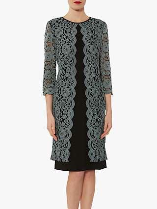 Gina Bacconi Catalena Lace Crepe Dress, Black/Grey