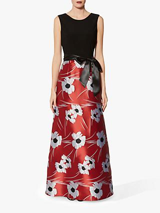 Gina Bacconi Celine Floral Satin Skirt Dress, Red/Black