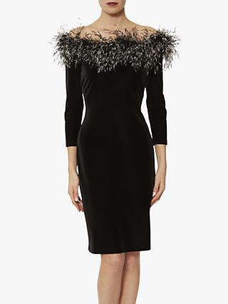 Gina Bacconi Gwen Velvet  Feather Dress, Black
