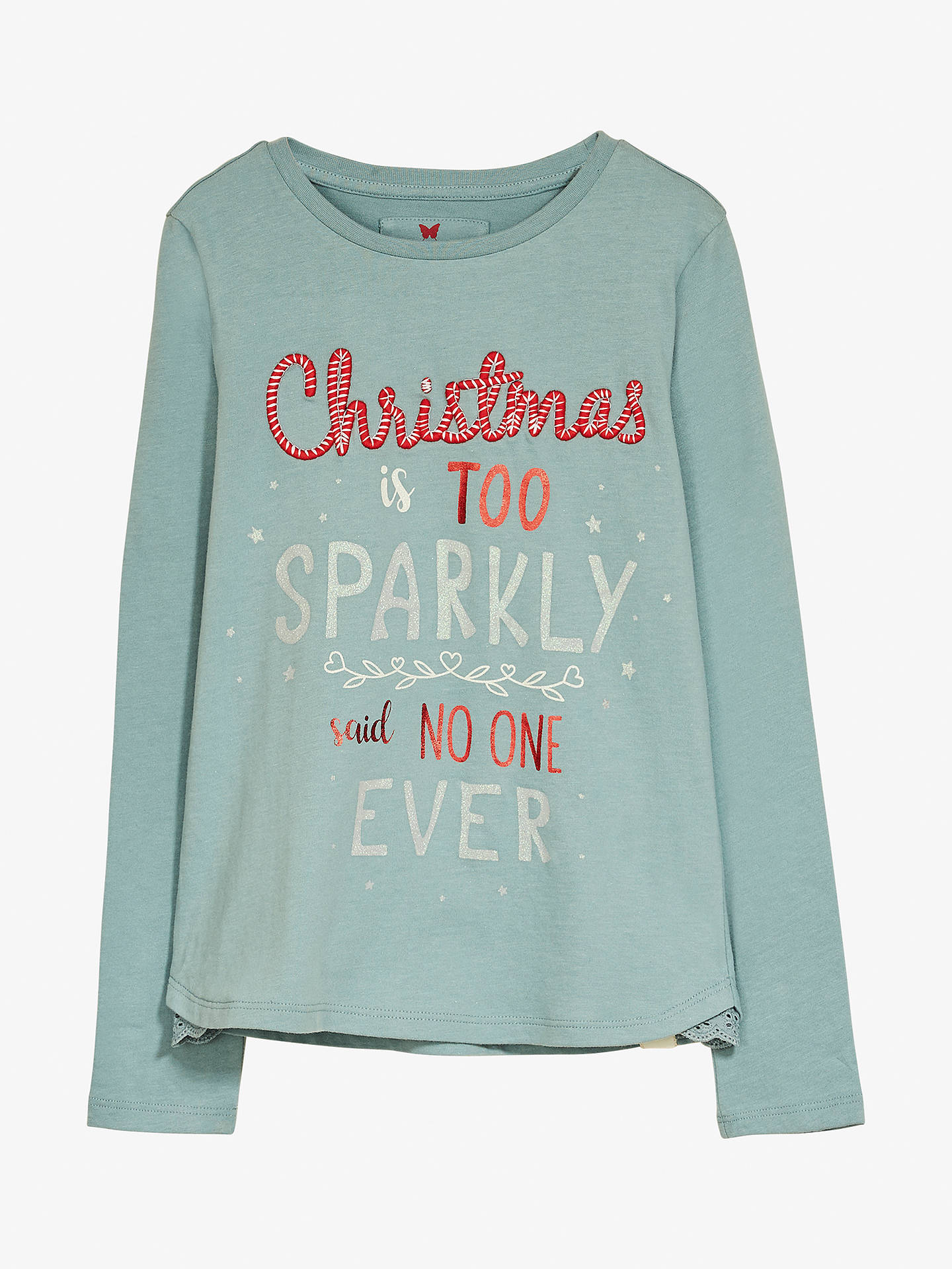 3773ce6e Fat Face Girls' Christmas Slogan T-Shirt, Aqua at John Lewis & Partners
