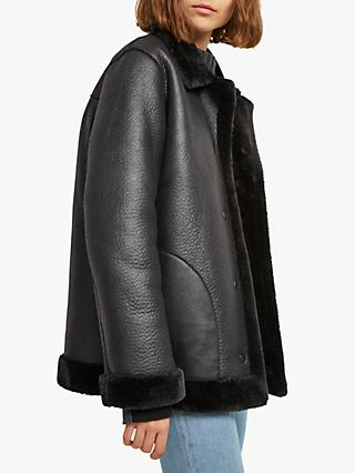 French Connection Louie Faux Shearling Reversible Coat, Black