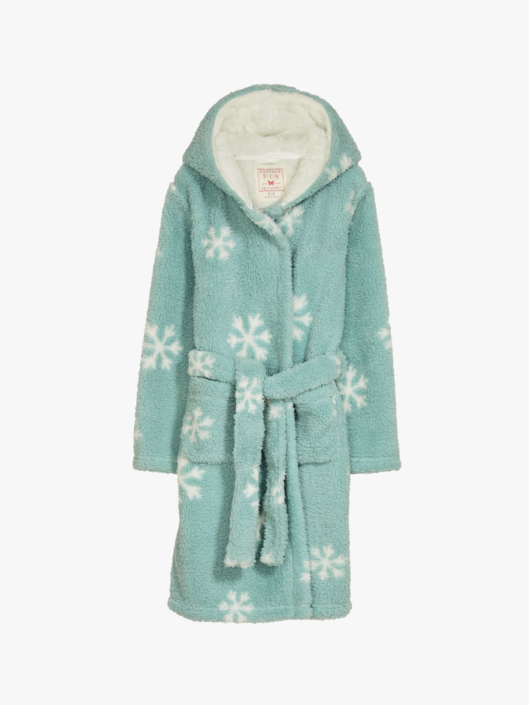 New Kids Supersoft Hooded Bath Robe gown Sizes Age 6-7 Girls Snowflake White