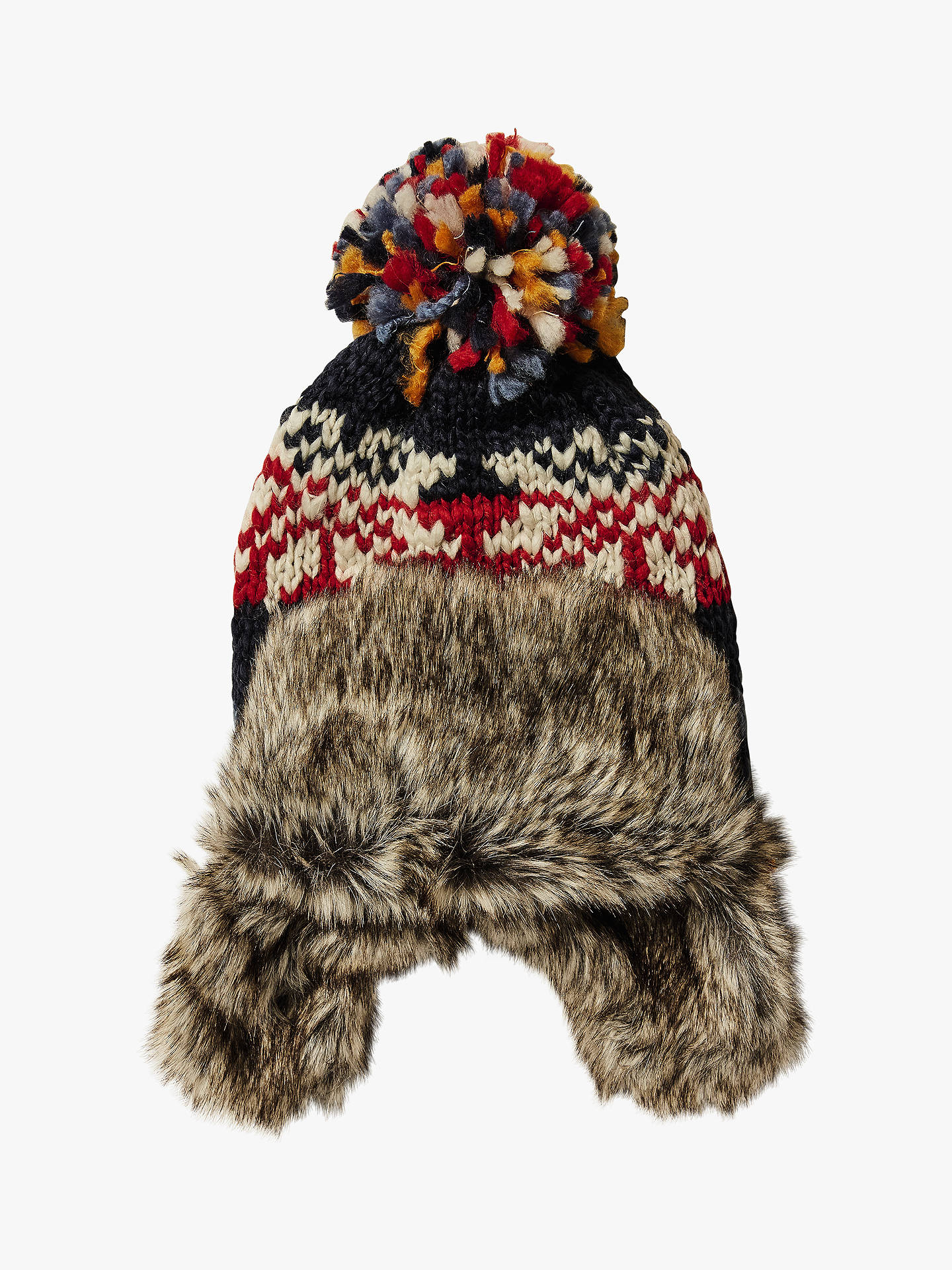 34d5b10a Buy Fat Face Children's Fair Isle Trapper Hat, Navy, S Online at johnlewis.