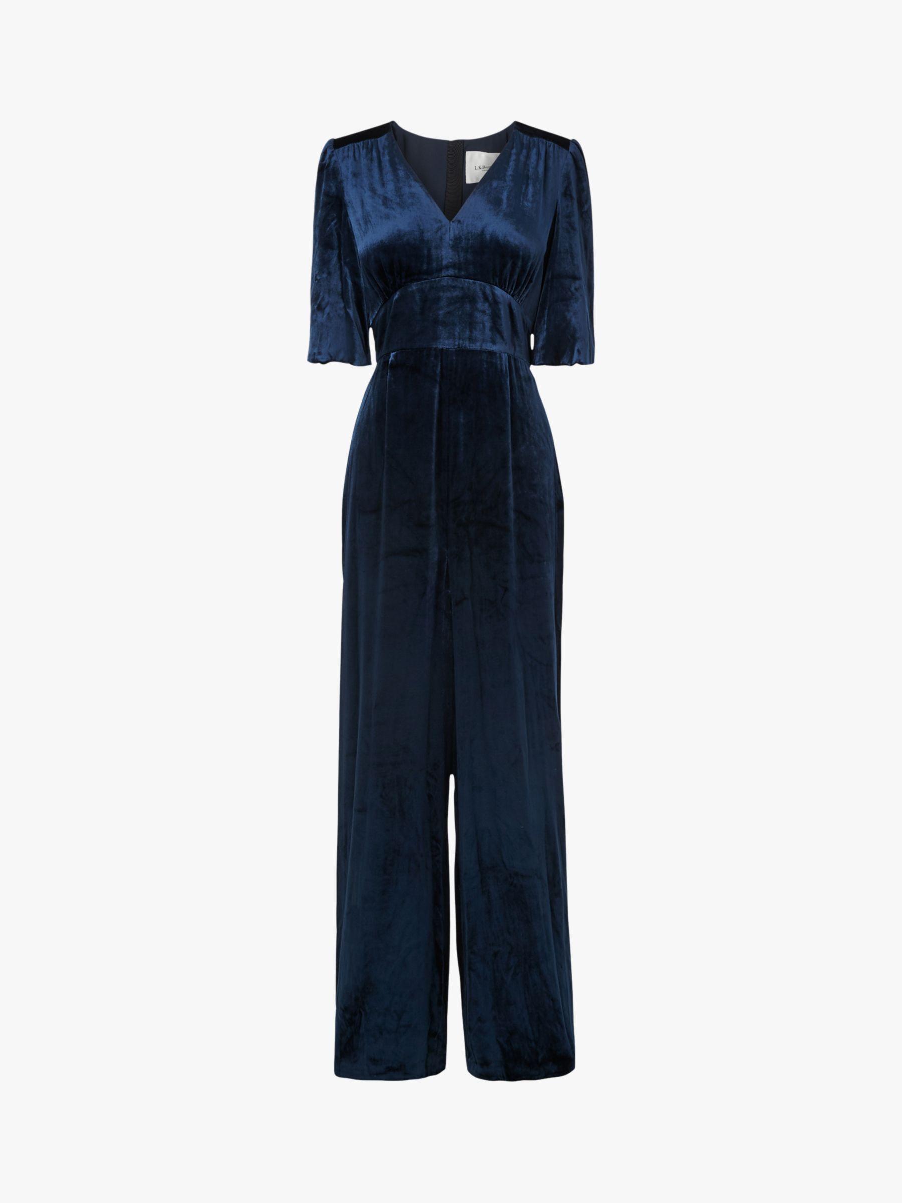 L K Bennett Nova Velvet Jumpsuit Midnight Blue At John Lewis Partners