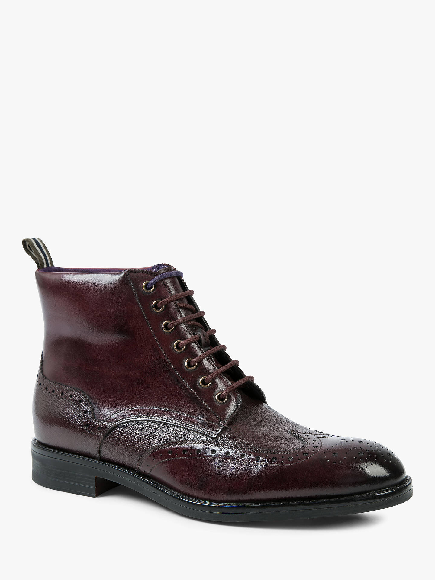 Buy Ted Baker Twrens Brogue Boots, Dark Red, 7 Online at johnlewis.com