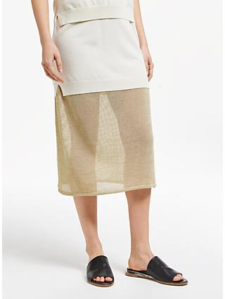 Modern Rarity JS Lee Open Knit Midi Skirt, Gold