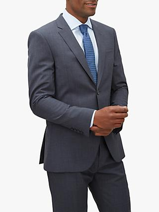 Jaeger Mouline Plain Weave Slim Fit Suit Jacket, Blue