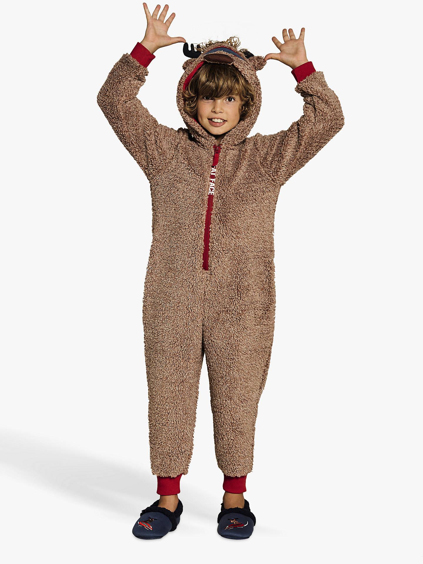 6ee45d781 Buy Fat Face Boys' Milo Moose Onesie, Chocolate, 8-9 years Online ...