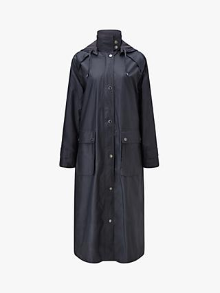 Four Seasons Long Waterproof Wax Coat, Black Tulip