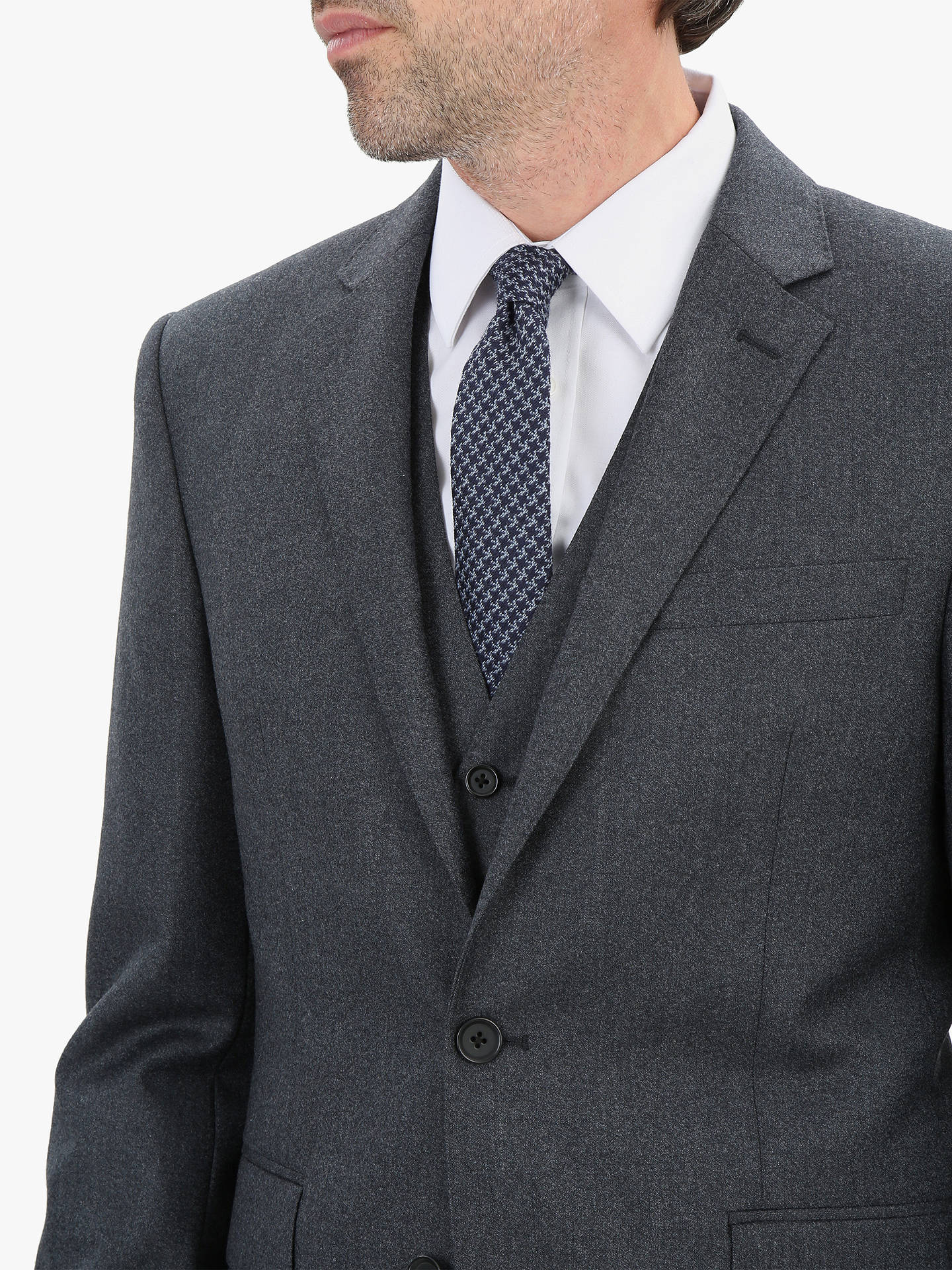 Buy Jaeger Flannel Regular Fit Jacket, Charcoal, 44S Online at johnlewis.com