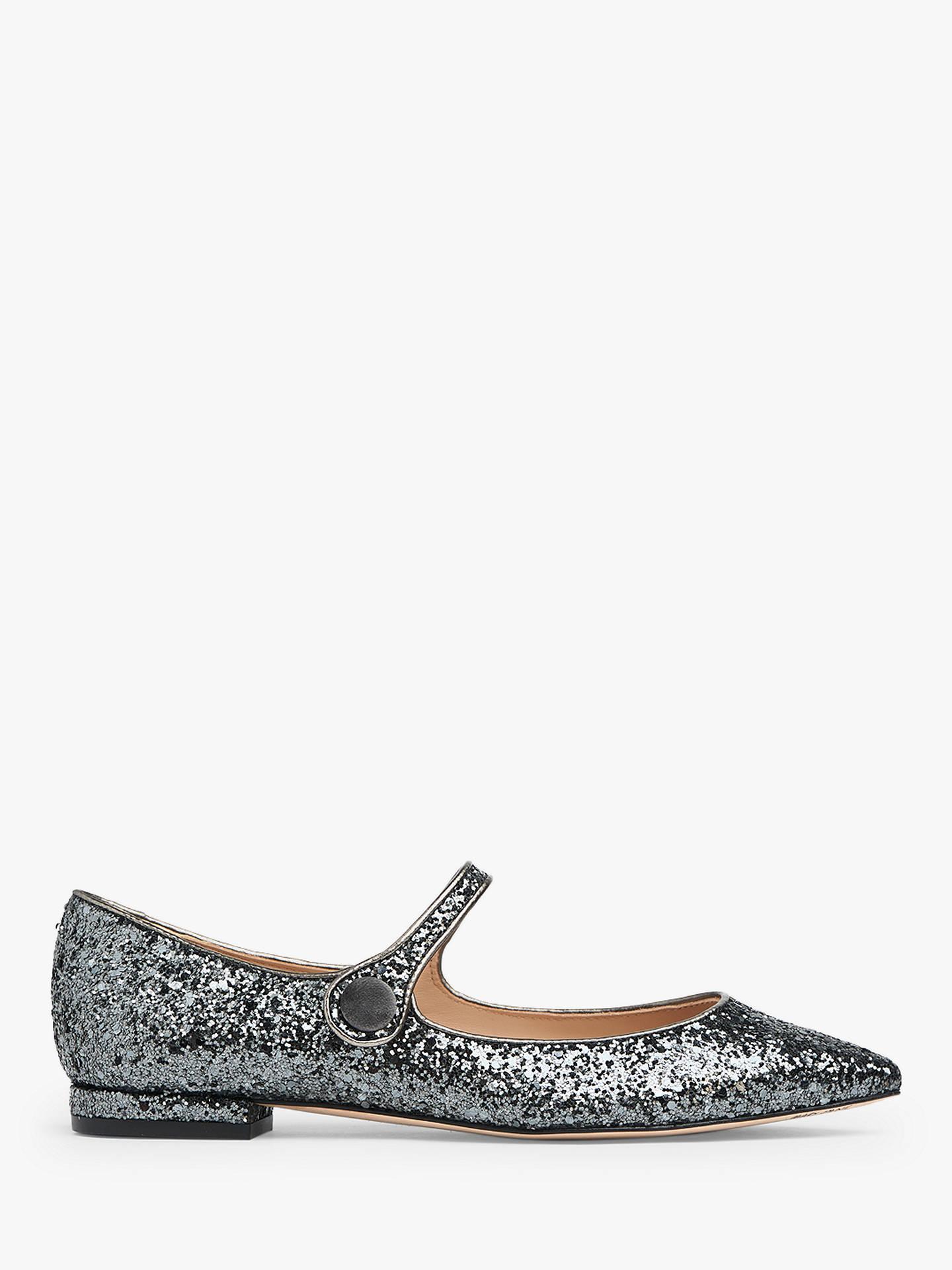 6fe8f7ec8373c L.K.Bennett Mary-Jane Flat Shoes, Charcoal Glitter at John Lewis ...