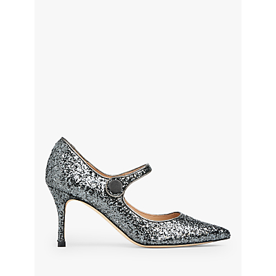 L.K.Bennett Monica Closed Court Shoes, Charcoal Glitter