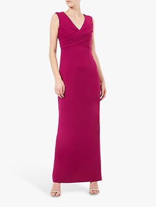 Adrianna Papell Long Crepe Sleeveless V-Neck Dress, Plum