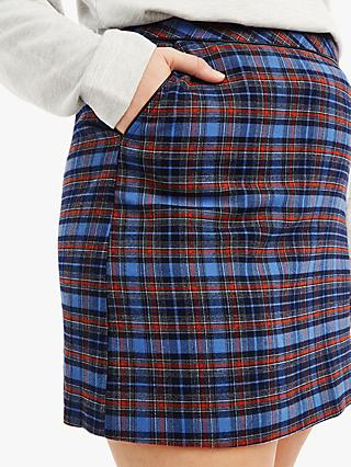 Oasis Curve Check Skirt, Multi