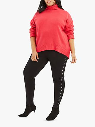 Oasis Curve Embellished Side Stripe Leggings, Black