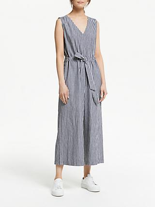 Collection WEEKEND by John Lewis Chambray Cotton Stripe Jumpsuit, Grey/Ivory
