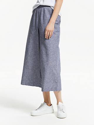 Collection WEEKEND by John Lewis Wide Leg Cotton Linen Stripe Culottes, Navy