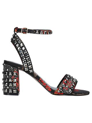 Carvela Gill Floral Print Studded Block Heel Sandals, Black/Red