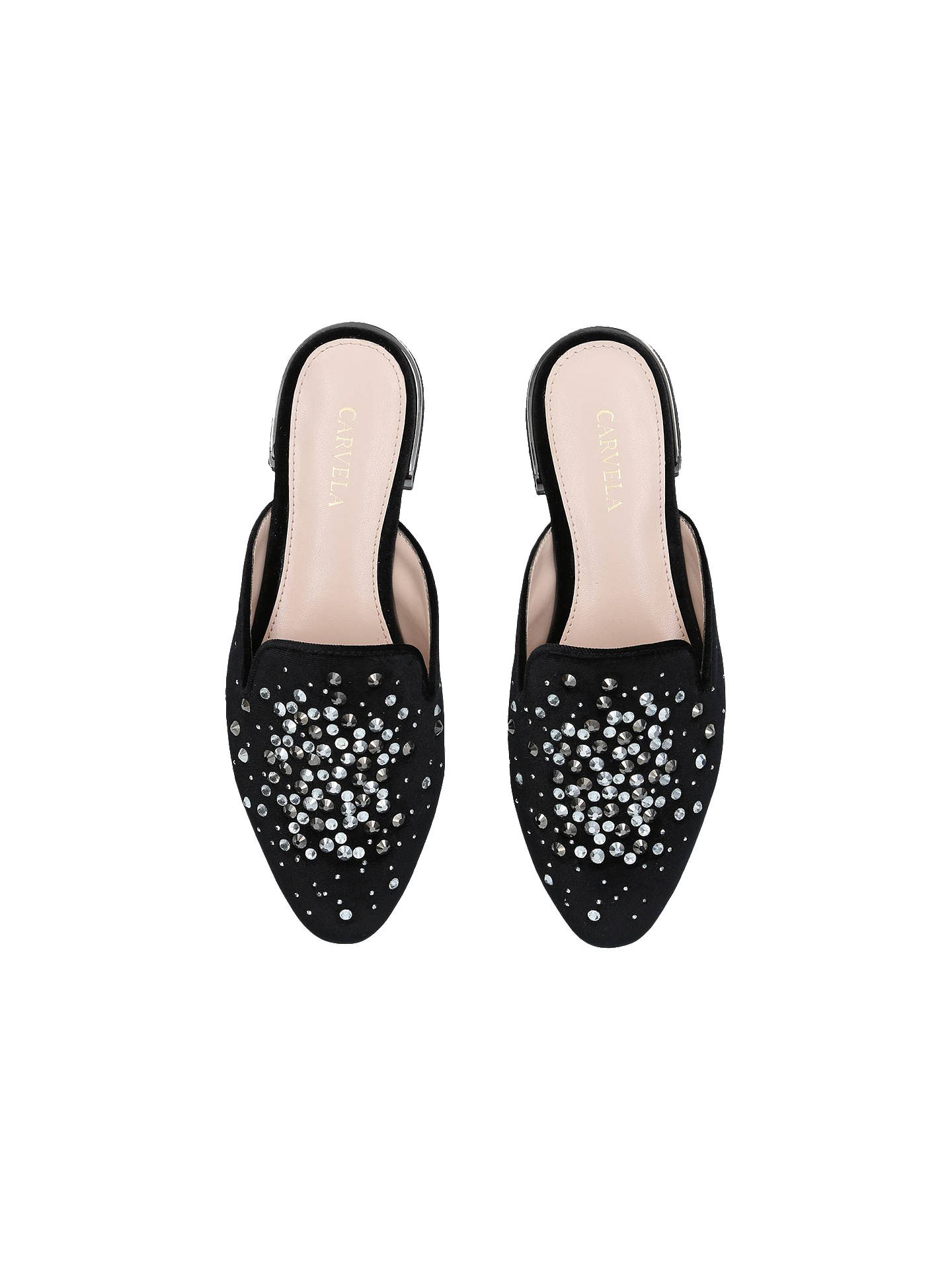 Buy Carvela Latifa Studded Mule Loafers, Black, 6 Online at johnlewis.com